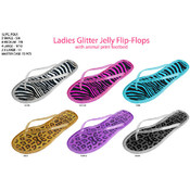 Ladies' Glitter Jelly Flip Flops w/Animal Print