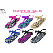 Ladies&#39; Bow T-Strap Jelly Sandals w/Animal Print