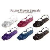 Ladies Patent Flower Sandal With Cork Wedge