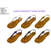 Ladies Snakeskin T-Strap Sandals