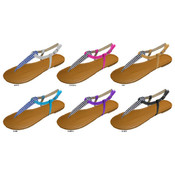 Ladies Canvas T-Strap Sandals