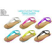 Ladies Cut-Out T-Strap Patent Sandals
