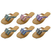 Ladies&#39; Lurex Stripe Bow Flip Flops