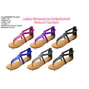 Ladies&#39; Rhinestone Embellished Nubuck Sandals