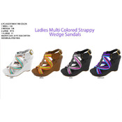 Ladies Multi Color Strappy Wedge Sandals