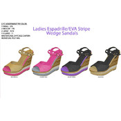 Ladies Espadrille EVA Stripe Wedge Sandals