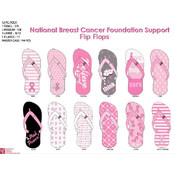 Ladies Pink Breast Cancer Ribbon Pattern Flip Flop