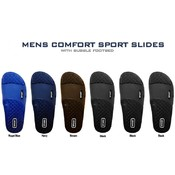 Mens Comfort Sport Slides With Bubble Footbed