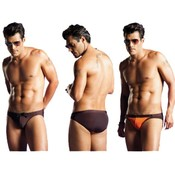Vuthy Mens Bikini Swimwear Brown Orange Small