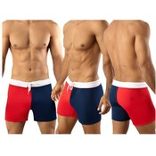 Mens Vuthy Red/Navy Tight Board Short Swimsuit SM
