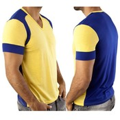 Vuthy Mens V Neck T Shirt Yellow/Blue Large