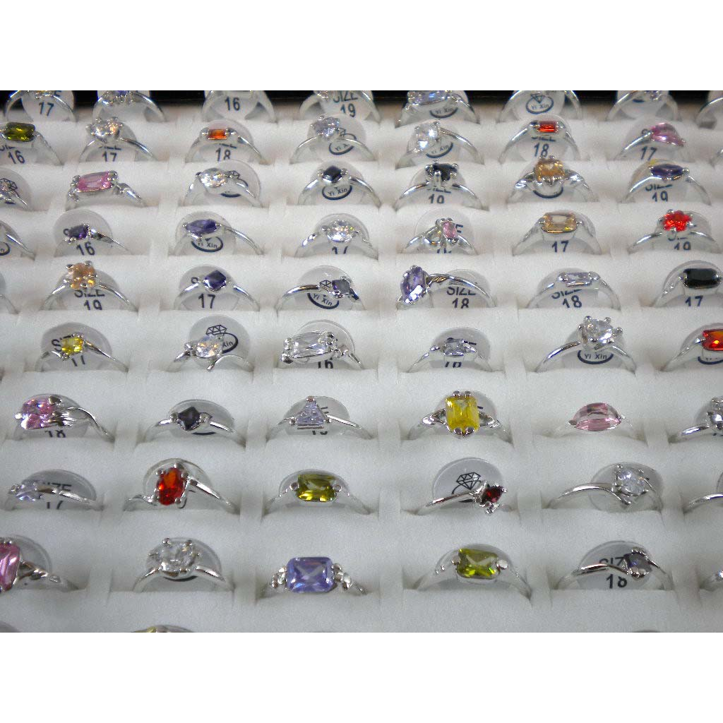 Brand New Silver Plated Cubic Zirconia Rings - 100 Pcs Wholesale Bulk
