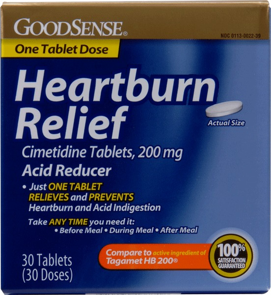 GoodSense Heartburn Relief Cimetidine 200Mg Tabs 30 CT(24x$4.85) Sold in lots of 24 @ $4.85 each. GoodSense(R) Heartburn Relief Cimetidine 200mg Tabs 30ct. Compare to the active ingredients in Tagamet (200mg Cimetidine). Brand sales are up 10% in the last year. A major retail margin item!! Proudly made in the USA. Minimum of 12 months shelf life fr