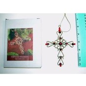 Decorated Metal Gold Cross Ornament with Red Gems