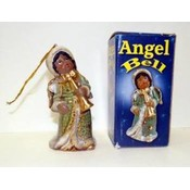 Glazed Porcelain African American Angel Bell Ornaments Wholesale Bulk