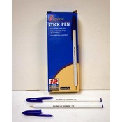 Pack of 12 SkilCraft Medium Point Blue Plastic U.S. Government Grade Stick Pen Wholesale Bulk