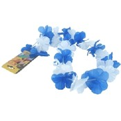 Blue and White Silken Flowered Lei
