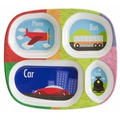 Melamine Divided Kids Plate-Transportation Design