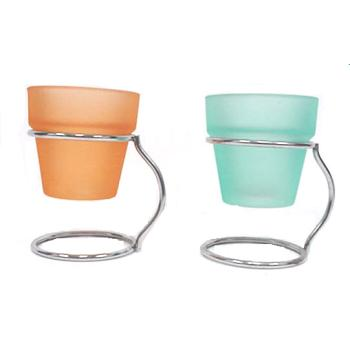 Colored Glass VOTIVE CANDLE Holder with Stand (370781)