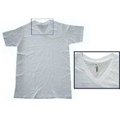 AAA Men's White 'V' Neck T-shirt-2XL Wholesale Bulk