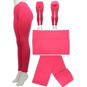Winter Fashion Skinny Fleece Lined Leggings, Footless Long and Seamless, Free Stretchable - Color: Fuschia
