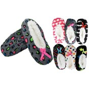 Ladies Cozy Fleece Sherpa lined Slipper Socks with non Slip Bottom Colorful Designs, 24cm Wholesale Bulk