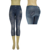 "Ladies Seamless Capri ""Jeggings""/  Light Blue -L/XL"