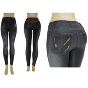 Ladies Seamless Footless &quot;Jeggings&quot;/ Black -L/XL