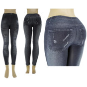 Ladies Seamless Footless &quot;Jeggings&quot;/ Deep Blue -L/XL