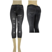 "Ladies Capri ""Jeggings""/ Black -L/XL"