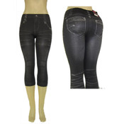 Ladies Seamless Capri &quot;Jeggings&quot;/ Black -L/XL