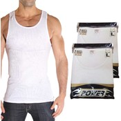'A-POWER' Men's 100% Cotton (2x2 Rib) White A-shirt-Ast Size Wholesale Bulk