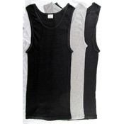 Men's Cotton 2x2 Rib A-shirt Black/Grey -Medium Wholesale Bulk
