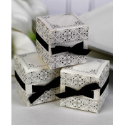 White Ribbon Weave Favor Boxes