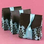 Turquoise & Brown Flourish Favor Boxes