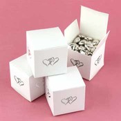 White Linked at Heart Favor Boxes