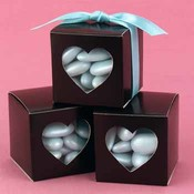 Brown Heart Window Favor Boxes