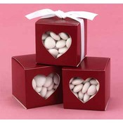 Merlot Heart Window Favor Boxes