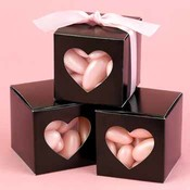 Black Heart Window Favor Boxes