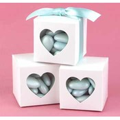 White Heart Window Favor Boxes