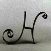 "Metal Letter Cake Top - 5"" Scroll - H"