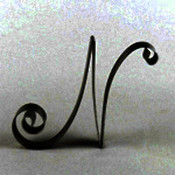 Metal Letter Cake Top - 5&quot; Scroll - N