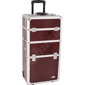 Burgundy Croc Rolling Makeup Case
