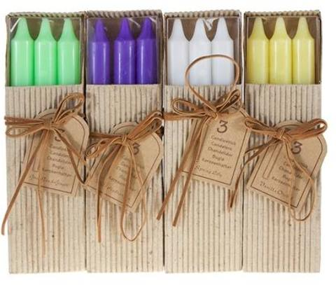 ''3-Piece 8'''' Scented TAPER CANDLE in Brown Box - Assorted [1996358]''