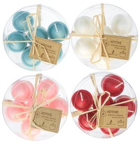 6-Piece Scented VOTIVE CANDLE in Round Clear Box - Assorted [1996359]