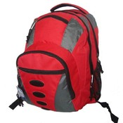"600D Polyester Backpack 16.5""x11.5""x6.5"",Red/Gray"