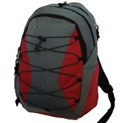 Backpack Mw/3 compartment & 1 CD pouch 18.5x12x9,Grey/Red.