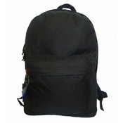 "16"" 600D polyester standard backpack, 16""x12""x5"", black."