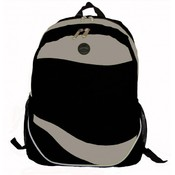 "600D Poly Backpack, 17.5""x12""x6"", Black/Grey."