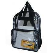 See-through clear PVC backpack, 17x13x5&quot;, Black.